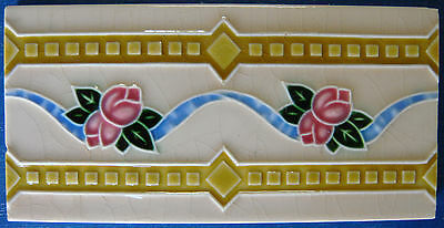 "Tile Vintage Glazed Flower Rose Bud Frieze ""Old Raj"" Style 15x7.5cm"