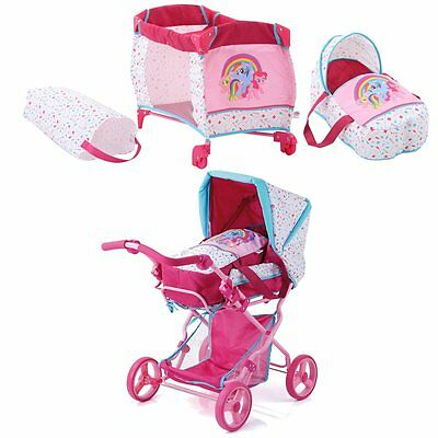 Travel cot+Doll pram My Little Pony v. Dolls to 43 cm v.Hauck NIP