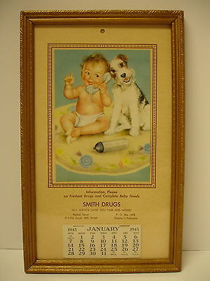 Collectible Antique Complete 1945 Smtih Drugs Omaha Framed Advertising Calendar