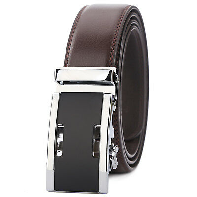 Mens Business Belt Genuine Leather Automatic Buckle Waist Strap Waistband