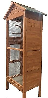 Large Wooden Bird Cage Wire Mesh Parrot Aviary House Waterproof Roof Fir Wood