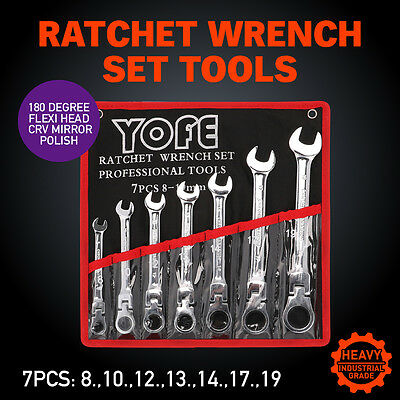7pc  8-19mm Flexible Head Ratchet Gear Spanner Wrench Set Canvas