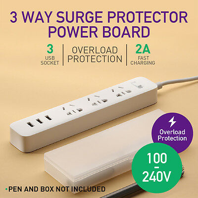 Surge Protector Power Board 3 Way Socket Outlets with 3 USB Charging Charger AU