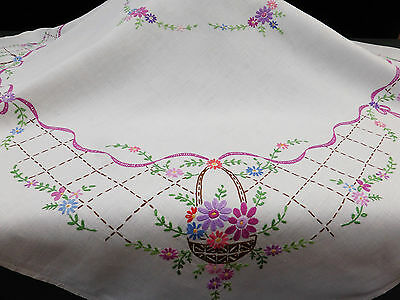 Vintage Linen Tablecloth-Hand Embroidered Flower Baskets-Ribbons