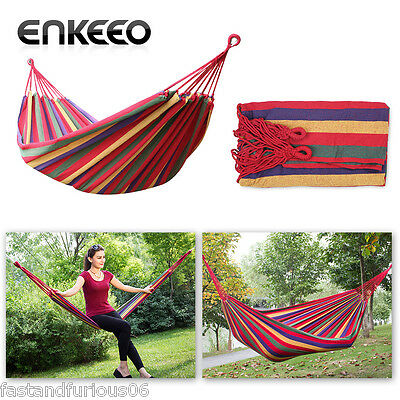 Cotton Hammock Double Person Travel Outdoor Camping Tent Hanging Hammock Bed AU