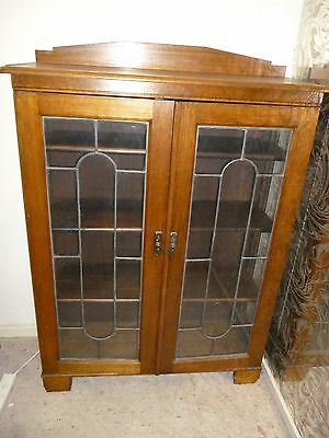 Antique Leadlight Display Cabinet / Book Case
