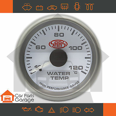 "SAAS 52mm 2"" Water Temp Gauge 40-120 Degree Range White Dial Face + Fitting Kit"