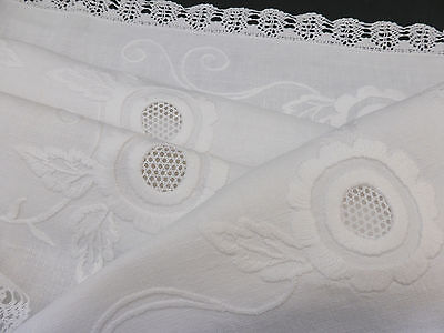 Antique Small Linen Tablecloth-Beautiful Hand Embroidered Whitework