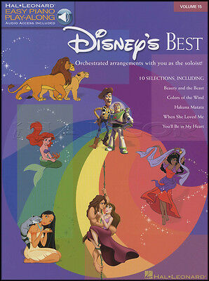Disney's Best Easy Piano Play-Along Sheet Music Book & Backing Tracks Audio
