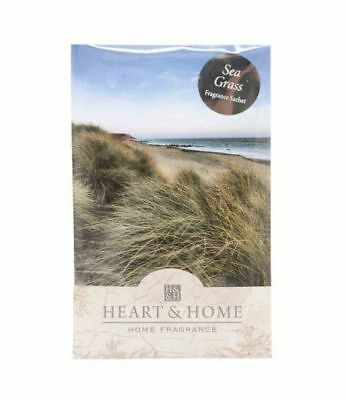 Pack of 6  Heart and Home Sea Grass Large Fragrance Scented Sachet with Hanger