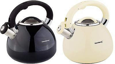Whistling Kettle 3.0 L Stainless Steel Camping black Enamel   induction gas