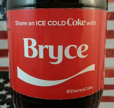 Share A Coke With Bryce Limited Edition Coca Cola Bottle 2017 USA