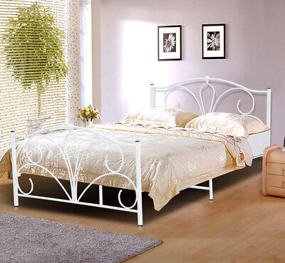 Double Queen Size White Antique Looking Metal/Iron Bed Frame with Posture Slats