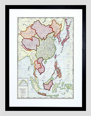MAP ANTIQUE CHICAGO 1932 CHINA JAPAN FAR EAST FRAMED PRINT F97x11371