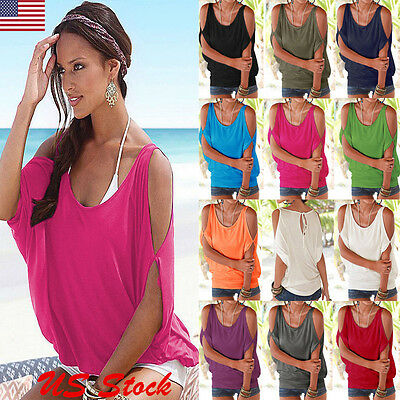 Womens Summer Cold Shoulder Short Sleeve T-shirt Fashion Blouse Casual Baggy Top