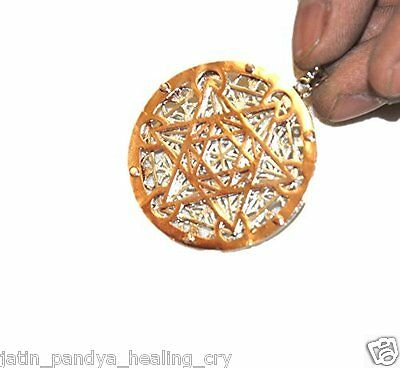 Jet A++ Round Metal Pendant JI22 Copper Silver Gold Plated Triple Layer Egyptian