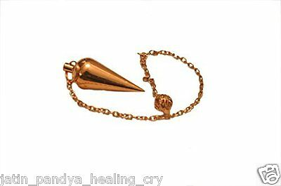 Jet Brilliant Cone Chamber Copper Plated Pendulum Healing Dowsing A++ Metal
