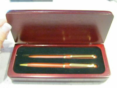 All Natural Wood Pen and Pencil Set in Wooden box - Box Marked Bank of America