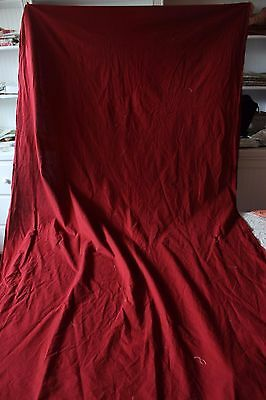 """Antique French 19thc Turkey Red Cotton Fabric Yardage~3yds 21""""L~Dolls,Quilters"""