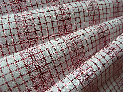 Woven linen flax fabric Red check, gingham in excellent condition from 1890s