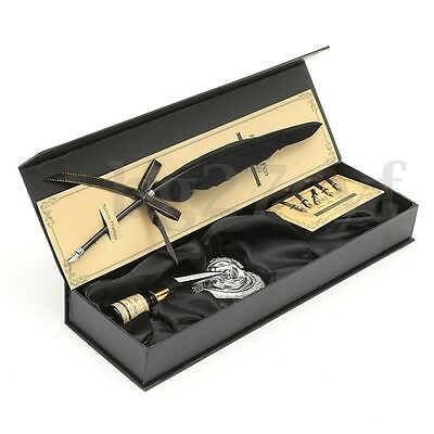 9Pcs Vintage Swan Feather Quill Metal Nib Dip Pen Writing Ink Set Box Gift AU