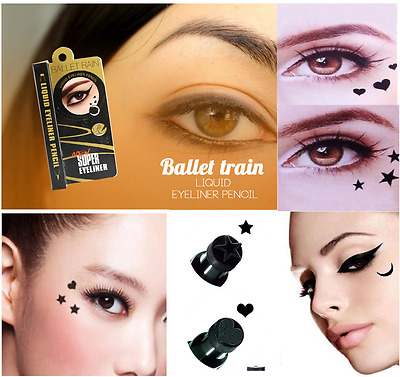 Black Waterproof Liquid Eyeliner Pen with Stamp Tattoo in 4 Shapes Make up