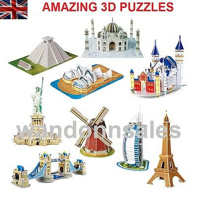 """NEW 3D Puzzles No Glue Jigsaw Designs DIY Gift Toy """"UK STOCK + CHEAPEST ON EBAY"""