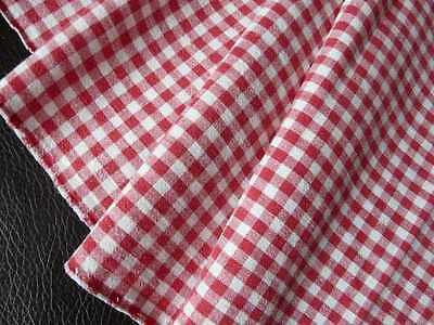 Vintage French woven linen fabric Red white gingham, check from 1900s exc. cond