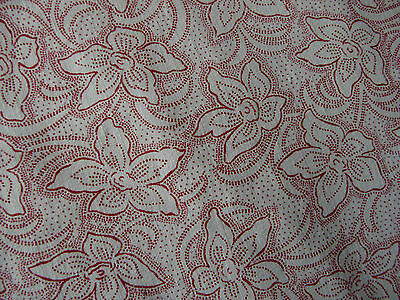 1930s French Art Deco vintage piece Pink floral cotton fabric organic v.g.c