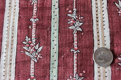 Antique French Rare Hand Blocked Madder Dyed Cotton/Linen Fabric c1810-1820