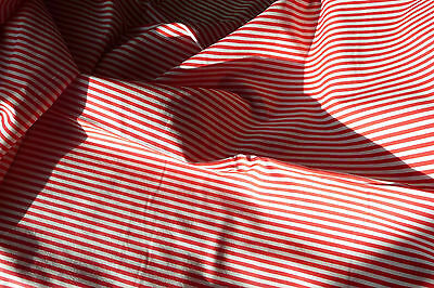 Vintage cotton fabric with Red stripes from 1980s new condition