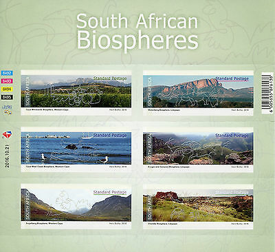 South Africa 2016 MNH Biospheres Mountains 6v S/A M/S Tourism Landscapes Stamps