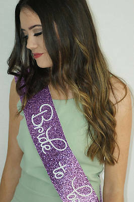 Hen Party Sash - Bride To Be - Classy PURPLE glitter - white lettering