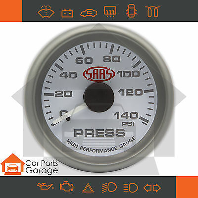 "SAAS 52mm 2"" Oil Pressure Gauge 0-140 PSI Range White Dial Face + Fitting Kit"