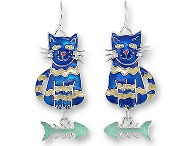 Calypso Cat Earrings with Dangling Fish,  Zarah, Hand Painted, Silver Plated