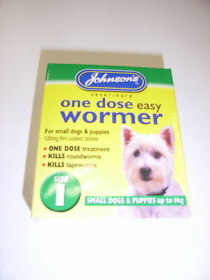 Johnsons One Dose Easy Wormer Tablets Small Dogs Size 1 Tape & Round Worms