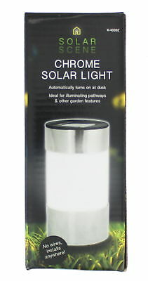 Automatic Chrome Solar Outdoor Patio Garden Light - No Wires Needed