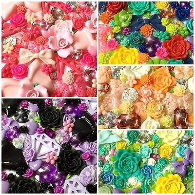 20 pcs Mixed Set Flowers Bows Jewels Resin/Clay Cabochons DIY Decoden & Crafts