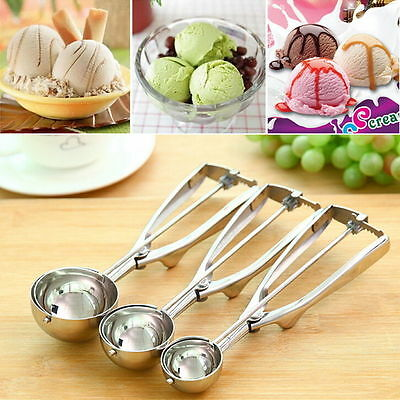Ice Cream Spoon Stainless Steel Spring Handle Masher Cookie Scoop ~F