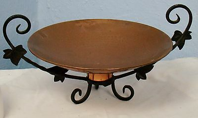 US0020 Handmade French Antique copper bowl with black iron pedestal