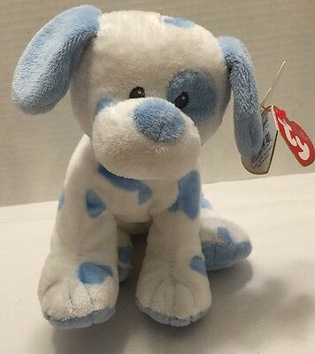 """Ty Pluffy Baby Pups Blue Stuffed Dog 8"""" Length White Blue"""