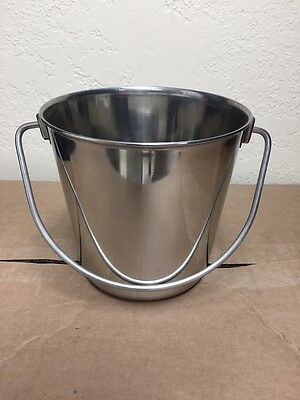 NEW Stainless Steel Pail Bucket 2 Qt Water Food Dog Kennel Milk Ice Heavy Duty