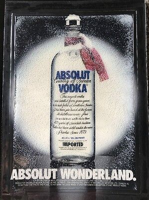 Vintage Advertisement Absolut Wonderland Vodka Magazine Ad Snowglobe Rare