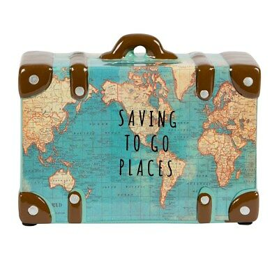 Saving to Go Places Vintage Map Travels Money Box fund Coin Piggy Bank Savings