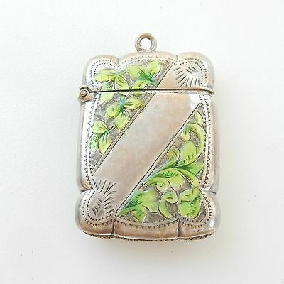 Early Silver-Plated Hand Painted Enamel Ivy Leaf Vesta Match Safe