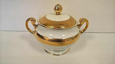 Sugar Bowl Hutschenreuther Fine China 18kt Gold Gilt with Lid LHS Bavaria