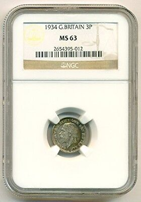 Great Britain Silver 1934 3 Pence MS63 NGC Color