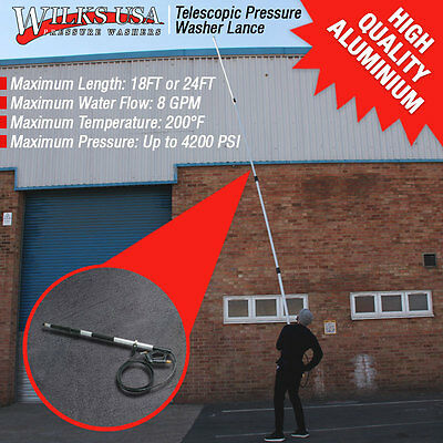 Telescopic Pressure Washer Lance Aluminium 5.5m & 7.2m /18ft & 24ft Free Holster