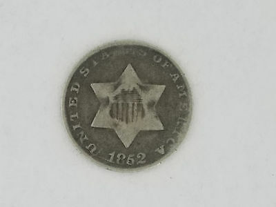 1852 Three Cent Silver Trime 3 Cents Coin - 5981