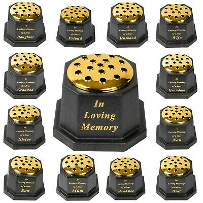 In loving memory memorial pot/grave vase,Black or dark gold lid.Weighted bottom